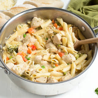 One Pot Creamy Chicken and Vegetable Pasta.