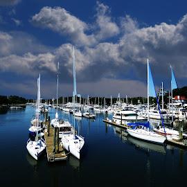 MOORING IN NEW ROCHELLE.NYS by Maks Erlikh - Transportation Boats ( blue, new rochelle, boats, yahts, mooring, nys, odcean shore, cloudsa )