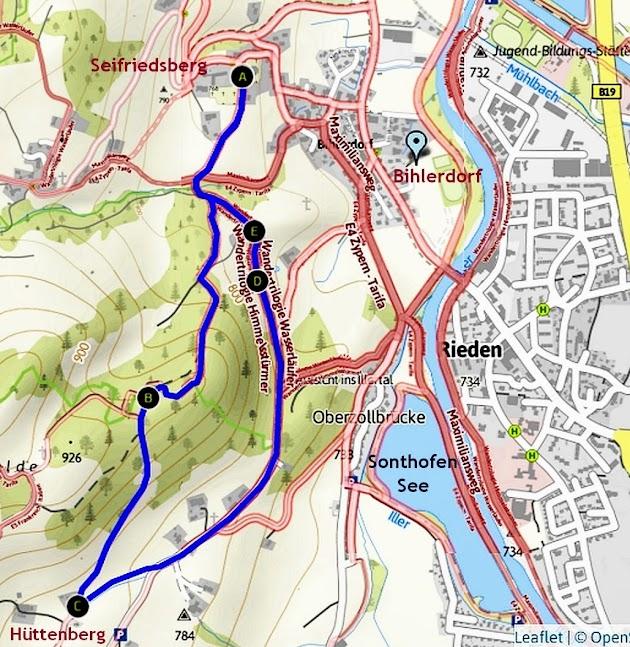 Map Karte Bihlerdorf-Hüttenberg Allgäu