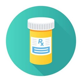 "[Image is an orange pill bottle with a white lid and a sticker that says ""Rx"" in blue, illustrated to look as if there are more lines of text. The background is a teal circle.]"