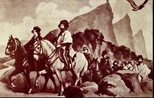 1849, dopo la caduta della Repubblica Romana Giuseppe Garibaldi e Anita Garibaldi in fuga, trovano rifugio a San Marino.