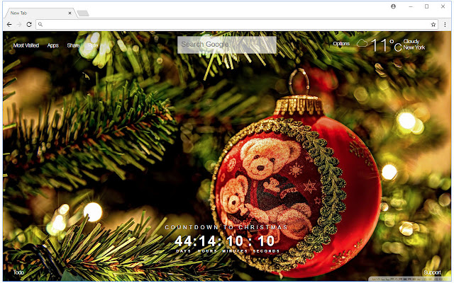 Christmas Countdown HD Wallpaper New Tab - Free Addons