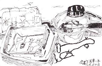Photo: 新食器時代2012.06.10鋼筆 舍房角落地板上放著小水桶,水桶裡堆置著打飯用的杓子和湯瓢,塑化劑事件後監獄才將用了一二十年的塑膠杓子改為不銹鋼材質;水桶旁是破舊的置物箱,平時用來放收容人自購的罐頭,畫面以外的不遠處是兩只未加蓋的垃圾桶,說監獄裡有多衛生,你信嗎?