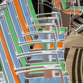 Chairs all in a row by Amber O'Hara - Artistic Objects Still Life ( orange, deck chairs, blue, green, cruise,  )