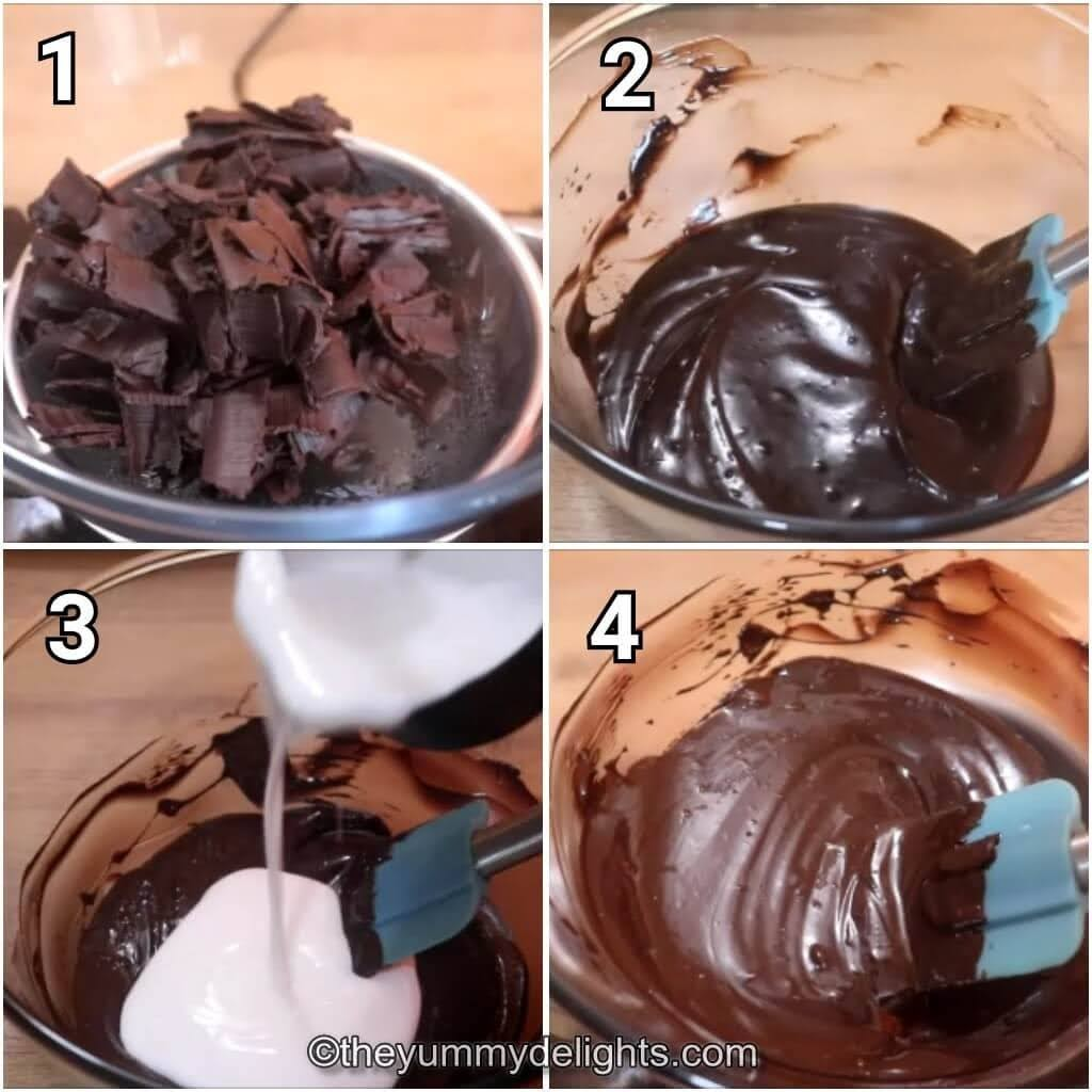 step by step image collage of making the chocolate ganache