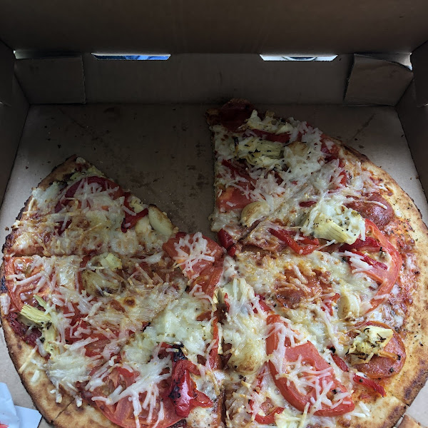 Large gluten free crust with vegan cheese pizza