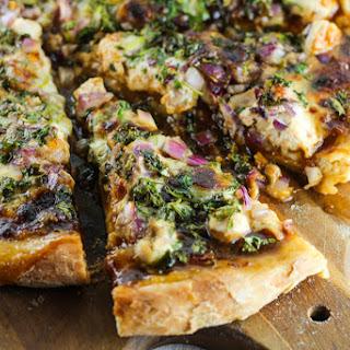 BBQ Chicken, Cilantro and Red Onion Pizza.