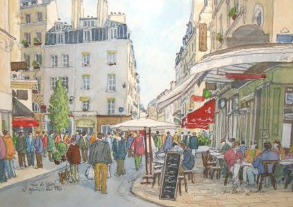 パリサンジェルマンBuci(ブチ)通りのイラストJean-Charles Decoudun