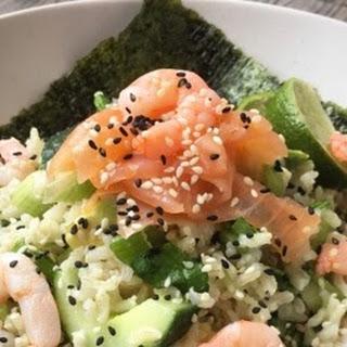 Smoked Salmon and King Prawn Sushi Rice Bowl
