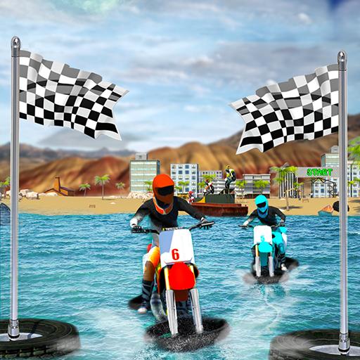 Beach Water Surfer Bike Rider - Motorcycle Racing