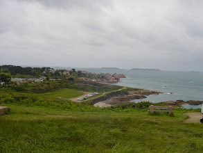 Photo: Looking down on the town of Tregastel, from the coast road.