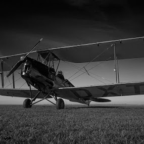 Gypsy by Shaun White - Transportation Airplanes ( black and white, vintage, biplane, moody, atmospheric, moth, gypsy,  )