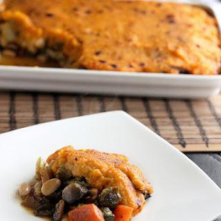 Roasted Veggie Shepherd's Pie with Sweet Potato Topping – Vegan + Gluten-free.