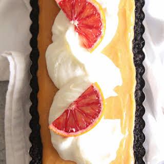 Blood Orange Curd Tart with Chocolate Crust.