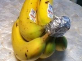 Note:Here is another banana fact:Place a piece of  plastic wrap or foil tightly...