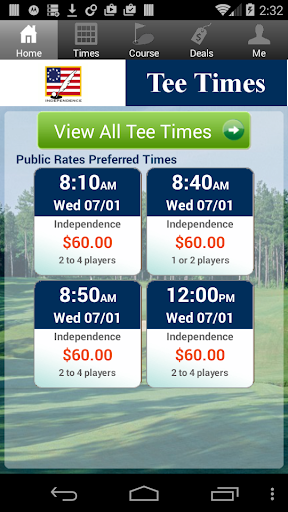 Independence Golf Tee Times