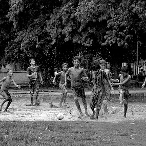playing football by Jit Rakshit - Babies & Children Children Candids