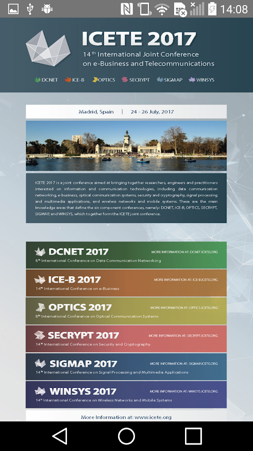 ICETE 2017- screenshot