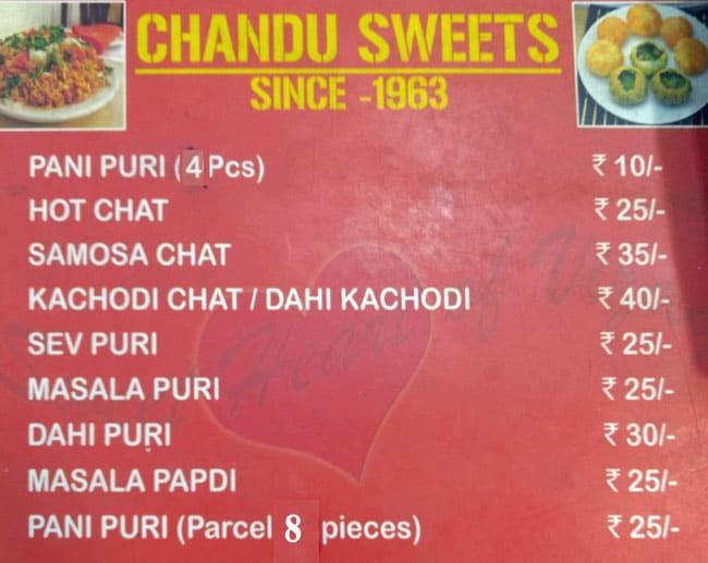 Chandu Sweets menu 1