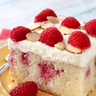 Raspberry Almond Poke Cake