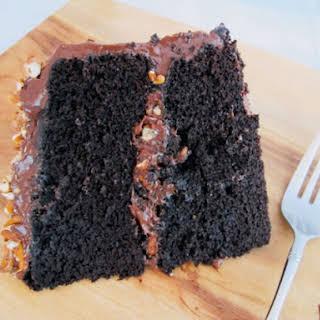 Fudgy Chocolate Pretzel Cake.