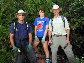 Photo: 2010 Ironwood Forest - marking the short, proposed Rotary Boardwalk to showcase some of Cayman's native trees, Jeremy Olynik (DoE cartographer), Heidi Stafford, Kristan Godbeer (DoE Terrestrial Unit)  Photo: Ann Stafford, June 22, 2010