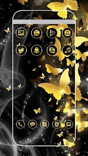 Black Golden Butterfly Glitter Theme - náhled