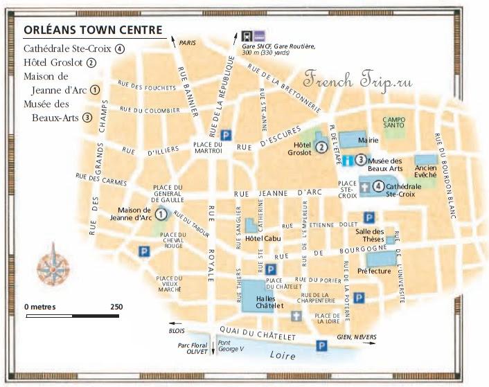 Достопримечательности Орлеана на карте города