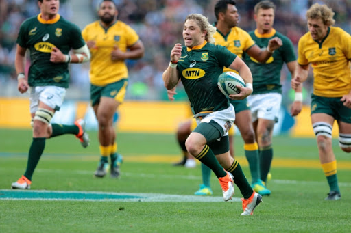 Try scorer Faf de Klerk of South Africa during the Rugby Championship match between South Africa and Australia at Nelson Mandela Bay Stadium on September 29, 2018 in Port Elizabeth, South Africa.