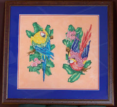 Photo: Completed 4 November 2009. Paradise Macaws (1990) by Paul Brent. Stitched on 32ct Tangerine Sparkle Lugana from Silkweaver using DMC. Stitch count: ?w x ?h.