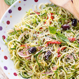 Zucchini Noodle Antipasto Salad {with Sun-Dried Tomato-Basil Vinaigrette}
