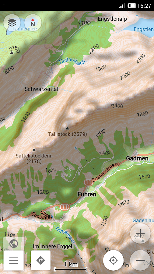 OsmAnd Contour lines plugin- screenshot