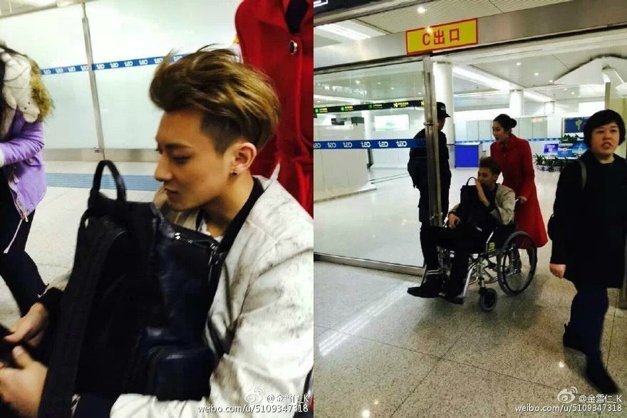 EXO's Tao spotted traveling in a wheelchair