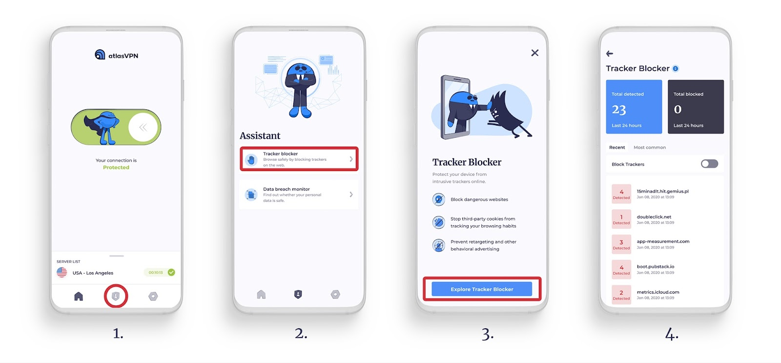 Tracker Blocker product shots (steps 1 to 4)