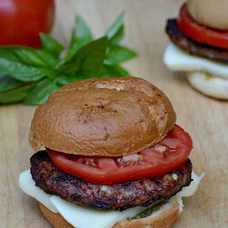 """Caprese"" Sausage Patties with Pesto, Mozzarella and Tomato"