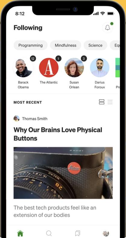 The Medium app interface