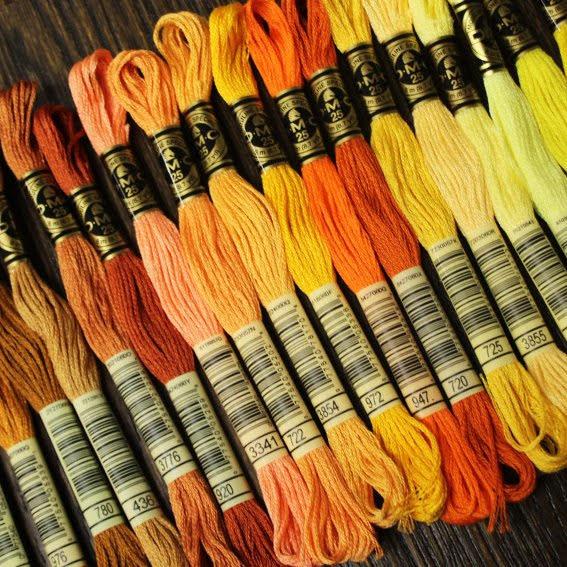 Broderigarn DMC - gul, orange, rost