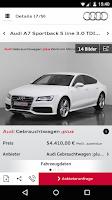 Screenshot of Audi Fahrzeugbörse