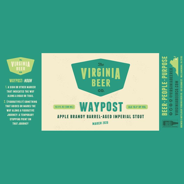 Logo of Virginia Beer Co. Waypost: Apple Brandy