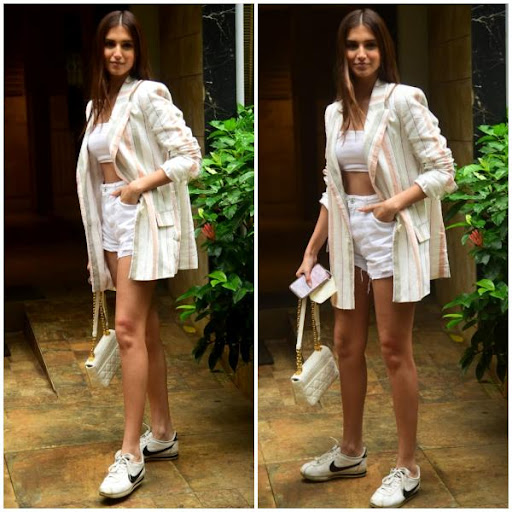 Tara Sutaria's white outfit paired with a striped blazer and sneakers is street style GOALS: Yay or Nay?