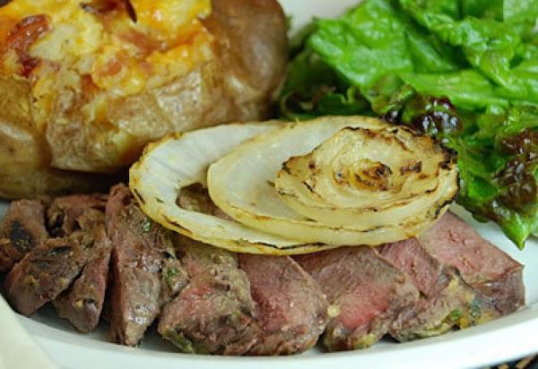 Glazed Steak With Grilled Onions Recipe