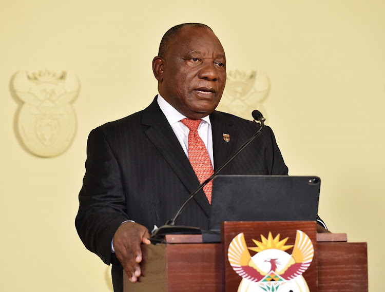 President Cyril Ramaphosa addressing the nation on government's additional extraordinary measures to contain and combat the rapid spread of the coronavirus. Picture: Jairus Mmutle/GCIS