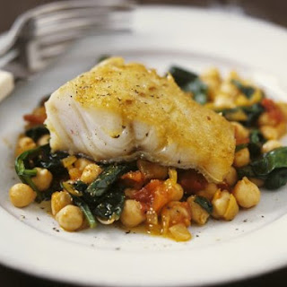 Hake with Garbanzo Bean Ragu