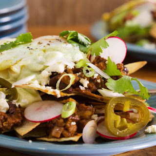 Chilaquiles with Chorizo, Black Beans and Eggs