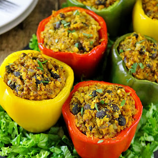 Curried Quinoa Lentil & Black Bean Stuffed Peppers