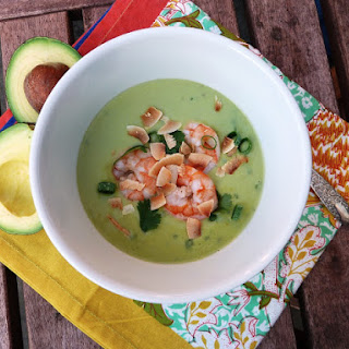 Chilled Thai-Inspired Creamy Avocado Coconut Soup with Poached Shrimp.