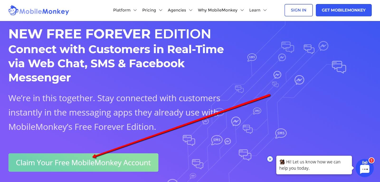 free chatbot tool - MobileMonkey
