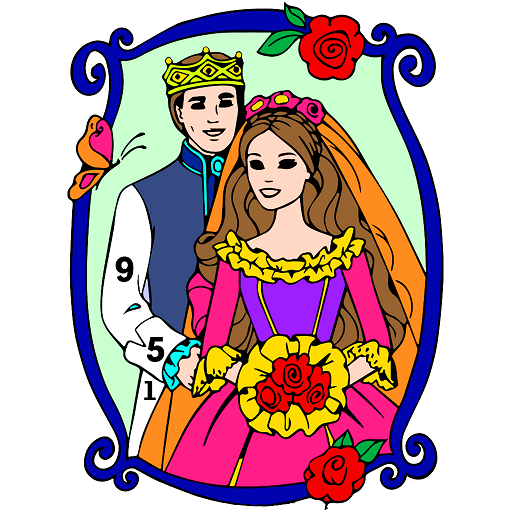 Bride & Groom Color by Number - New Coloring Book Icon