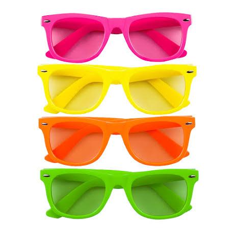 Glasögon, neon 80-tal