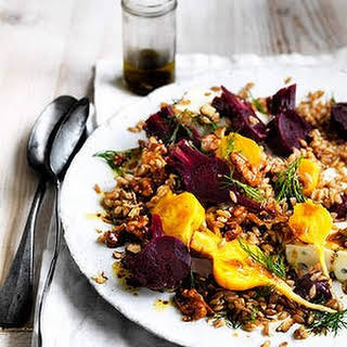 Salad Of Farro With Baby Beetroots, Gorgonzola And Candied Walnuts.